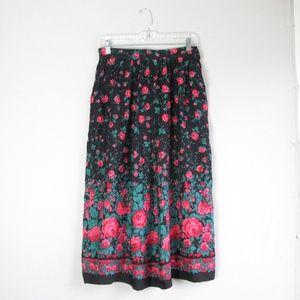 Vintage black pink floral printed boho midi skirt